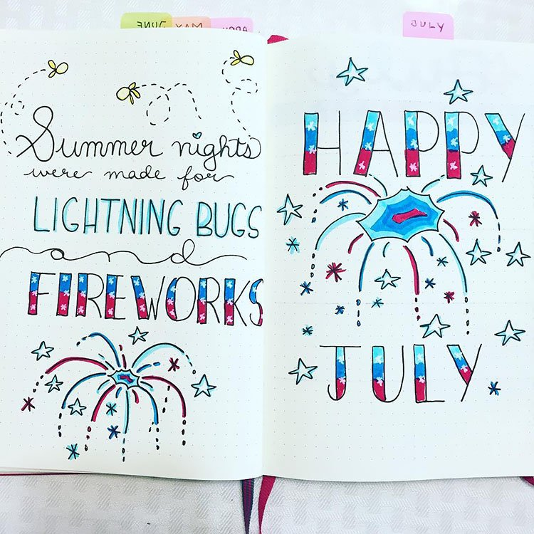 HAPPY JULY COVER PAGE FOR BULLET JOURNAL