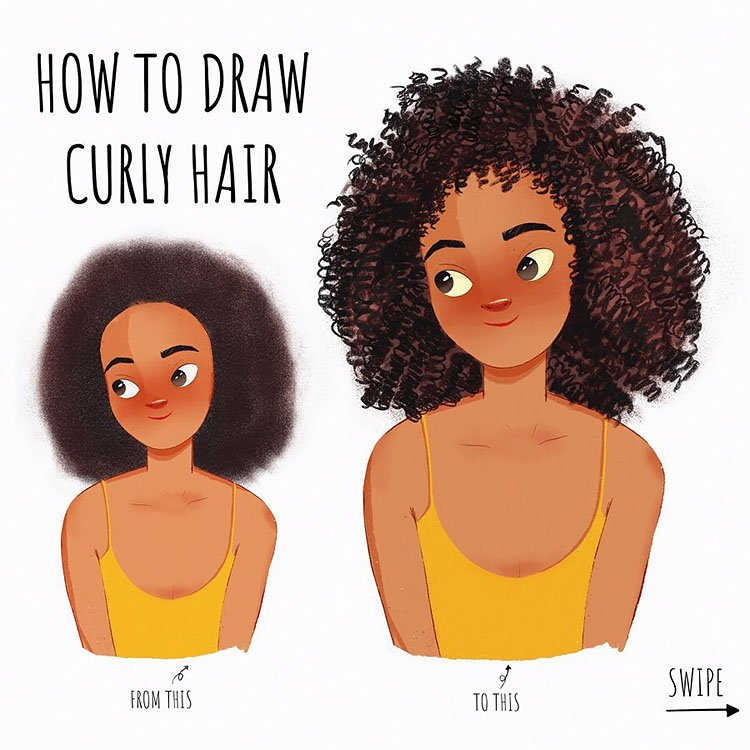 HOW TO DRAW CURLY HAIR TUTORIAL