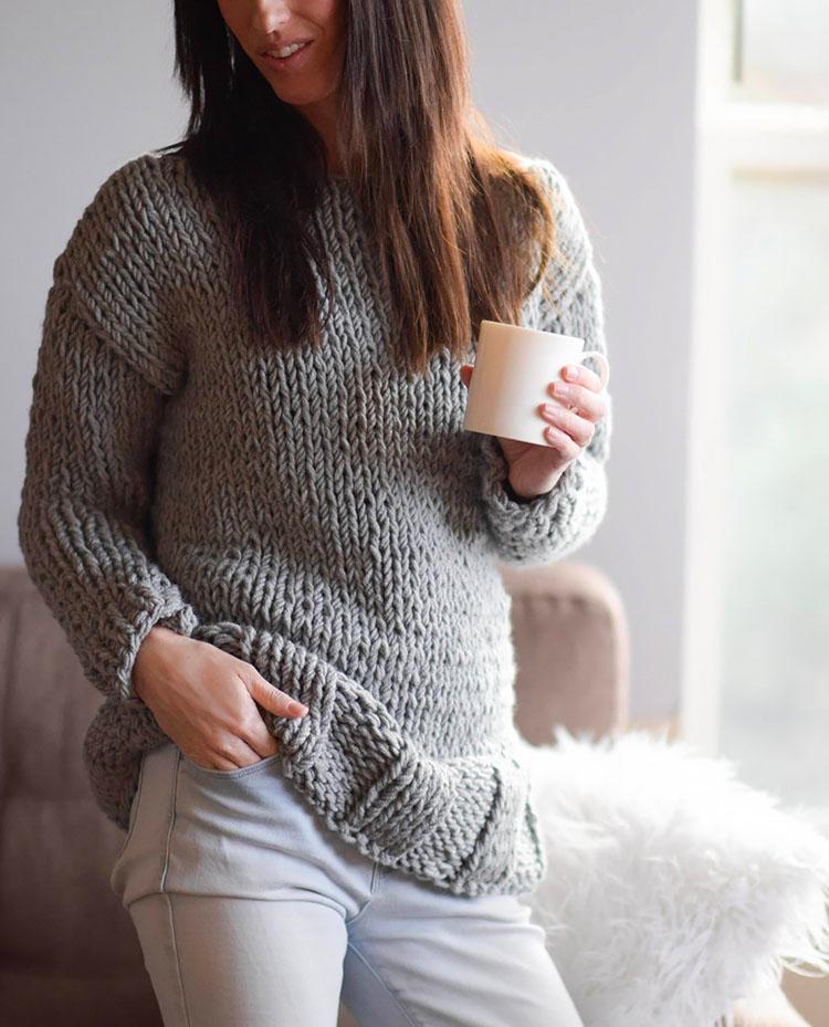 Chunky Knit Sweater Pattern, Beginner
