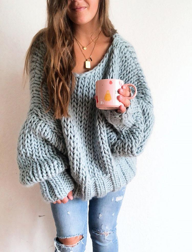 Winter Blues Wool pullover sweater knitting pattern