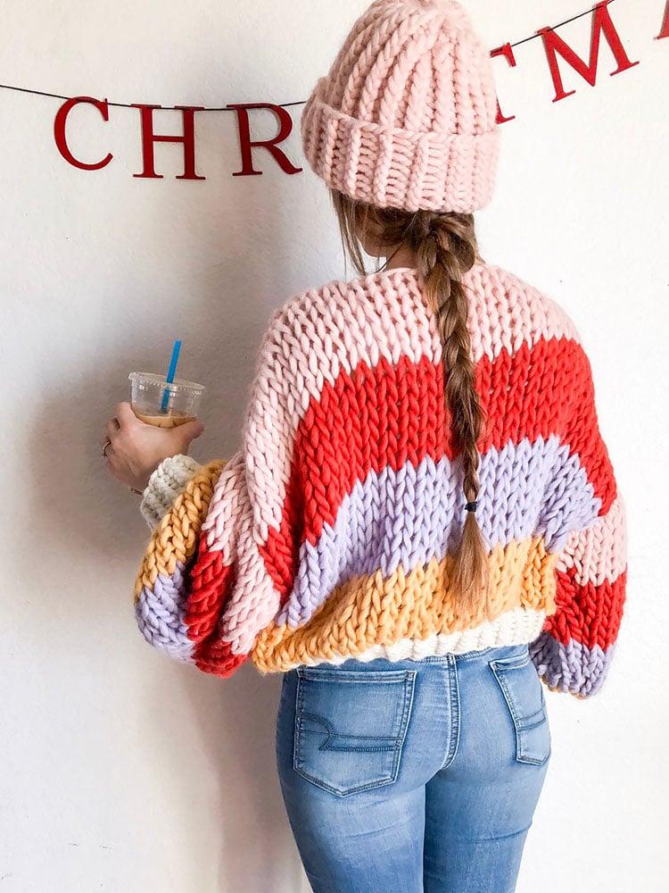 Cropped Striped Winter Sweater knitting pattern