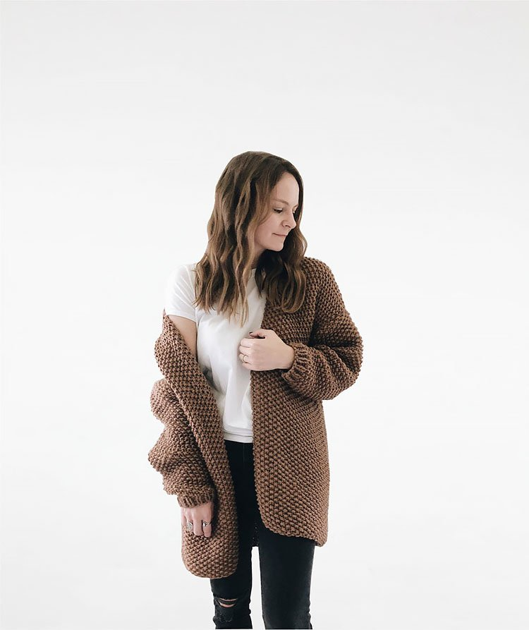 Knitting Pattern - Chunky Knit Sweater Cardigan