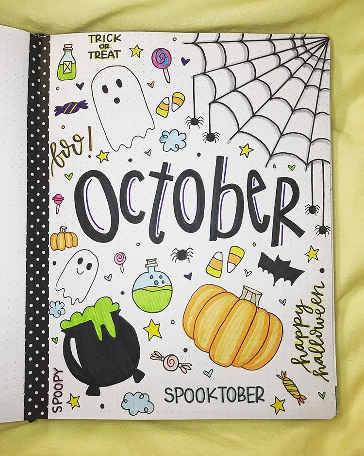 SPOOKTOBER OCTOBER COVER PAGE WITH GHOSTS AND CANDY CORN
