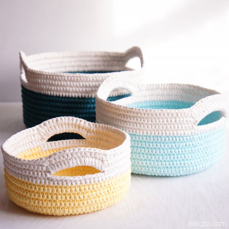 STURDY CROCHET BASKETS WITH HANDLES