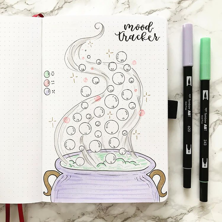 Cauldron with bubbles mood tracker halloween