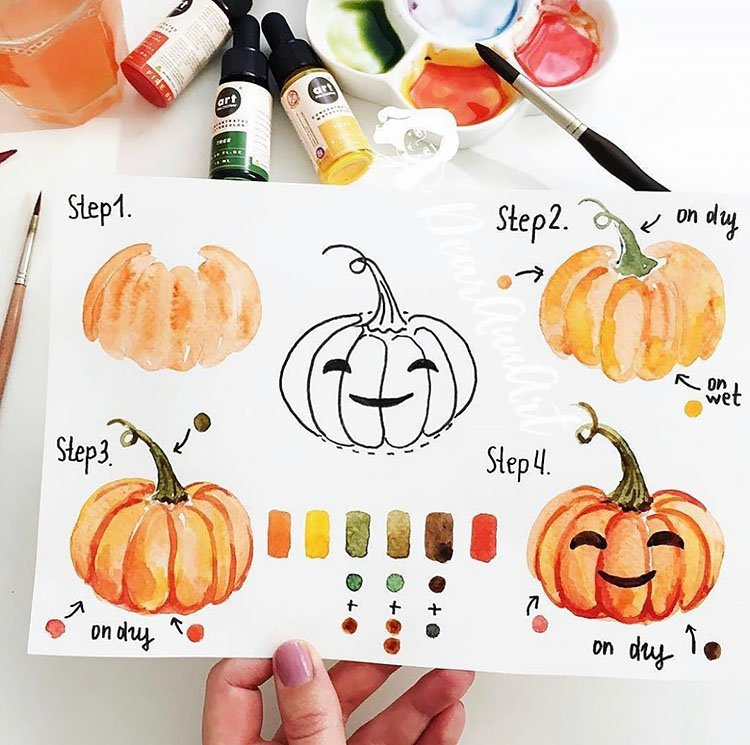 how to draw a watercolor pumpkin