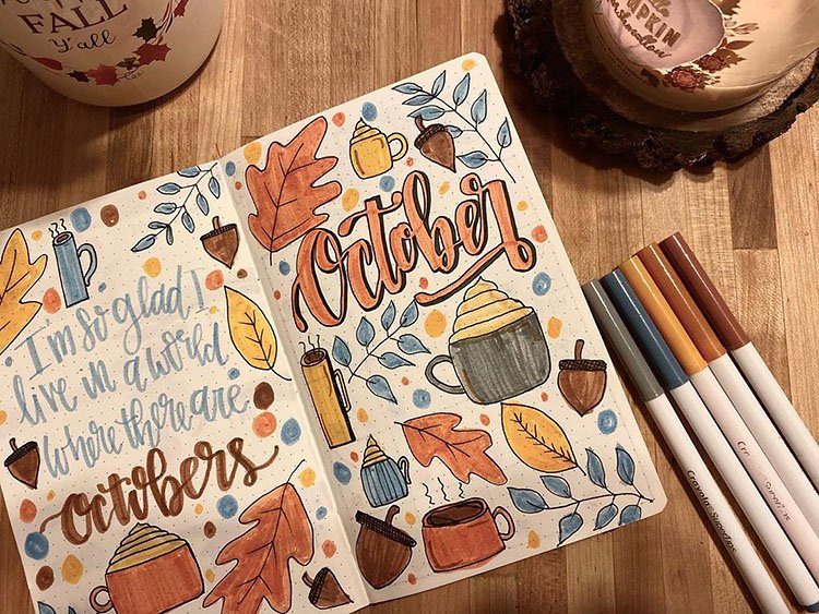 october cover page with leaves and hot cocoa