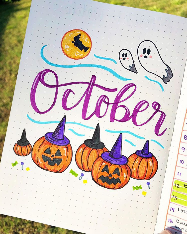 October cover page with pumpkins and ghosts