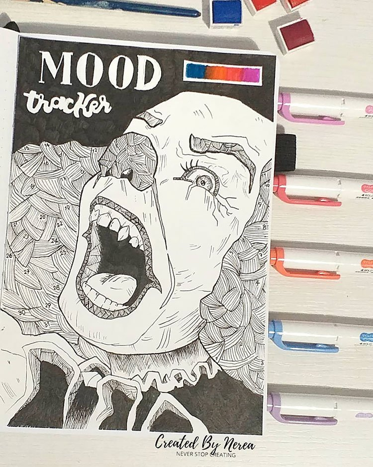 IT (Pennywise) the clown bullet journal mood tracker