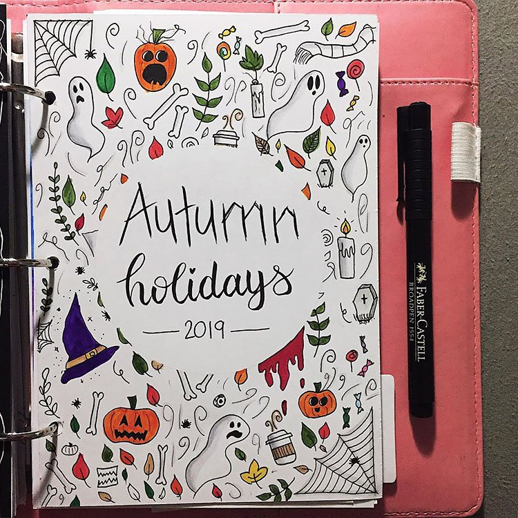 autumn and halloween theme bullet journal