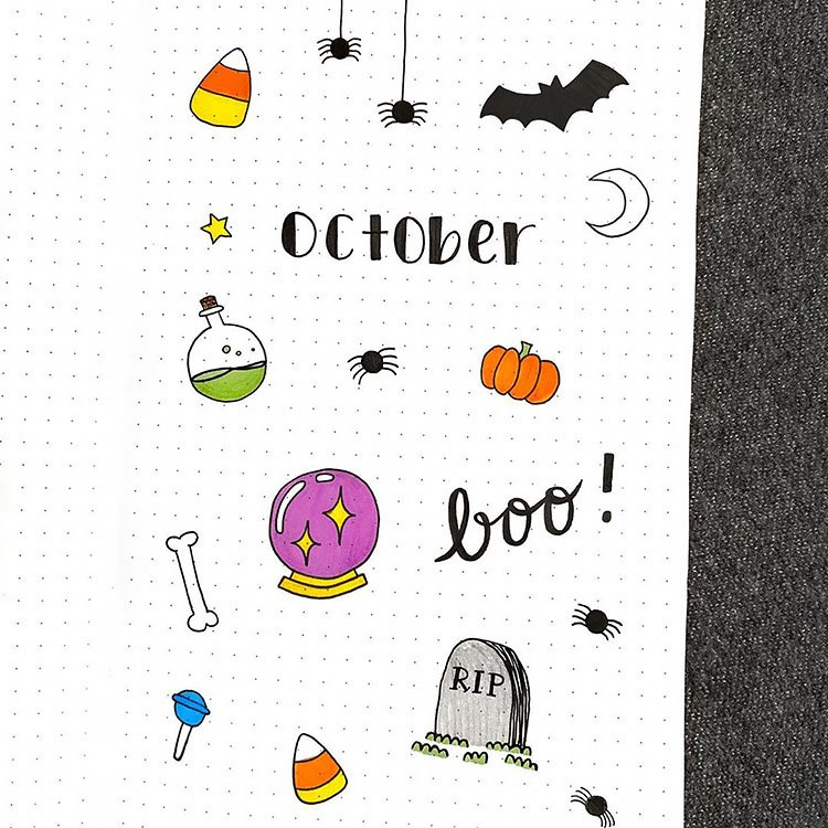 halloween themed bullet journal cover page