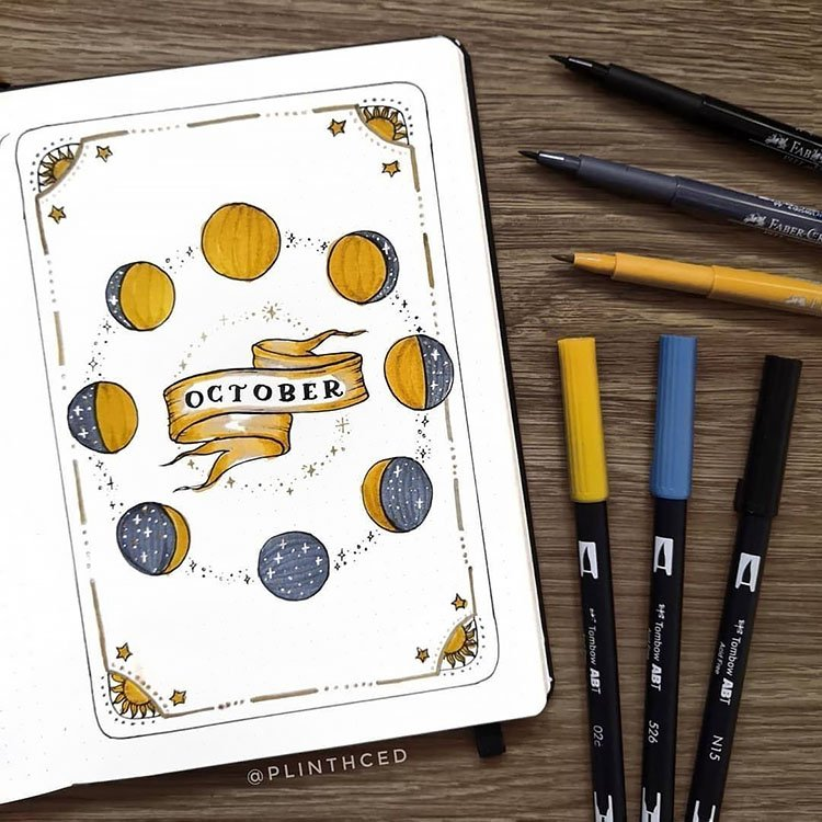 moon cycles october bullet journal cover page