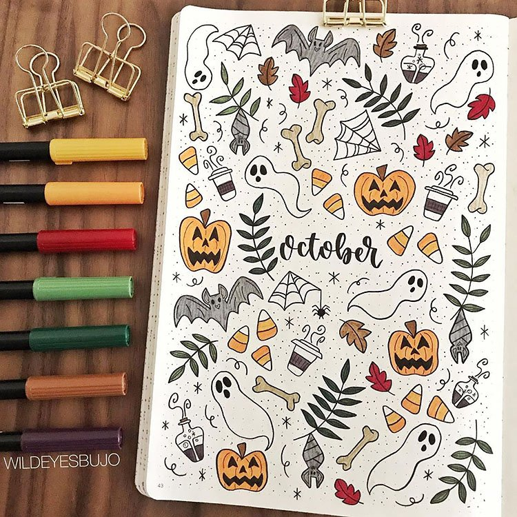 october and halloween theme bullet journal cover page