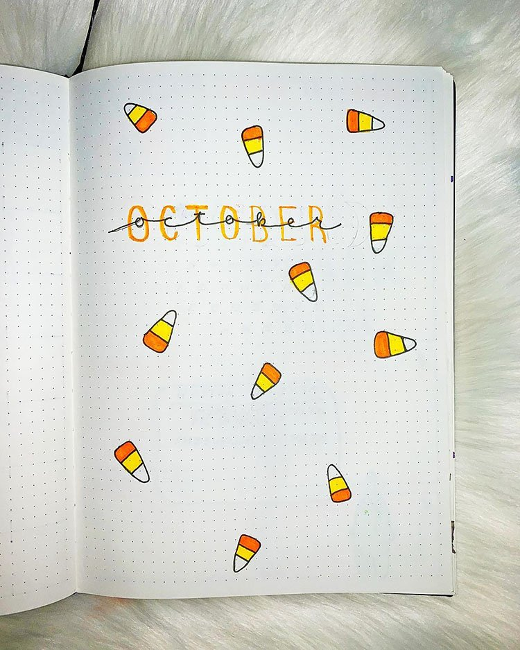 candy corn bullet journal october cover page