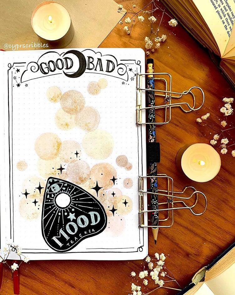 ouija board bullet journal spread