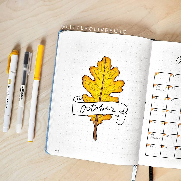 october bullet journal cover with leaf