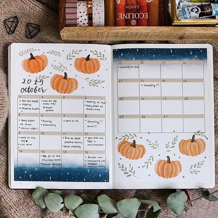 october bullet journal calendar with pumpkins