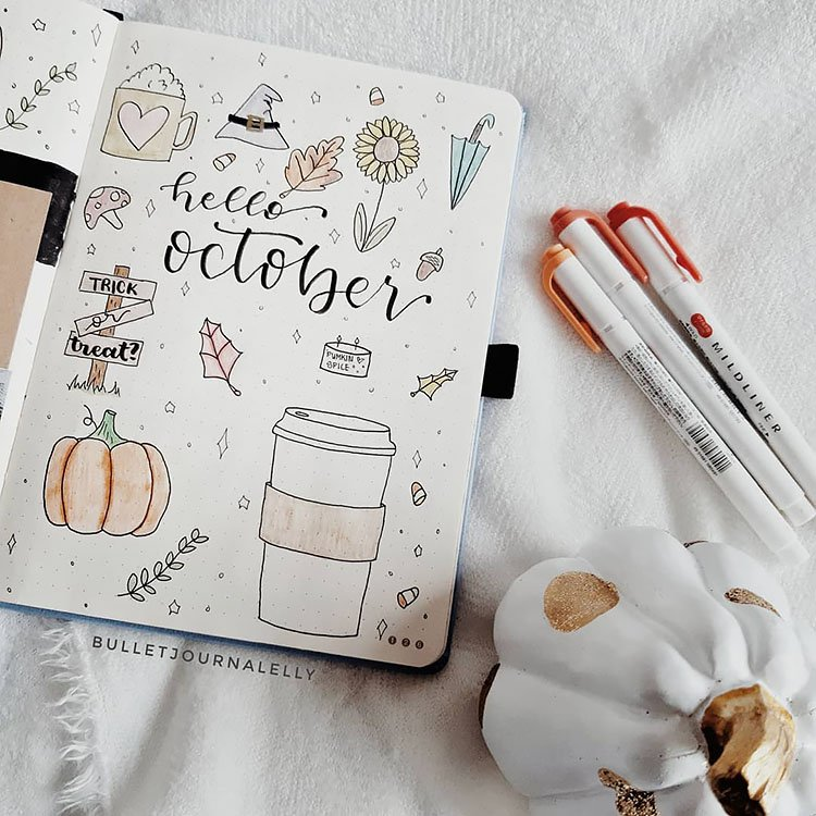 hello october bullet journal cover page