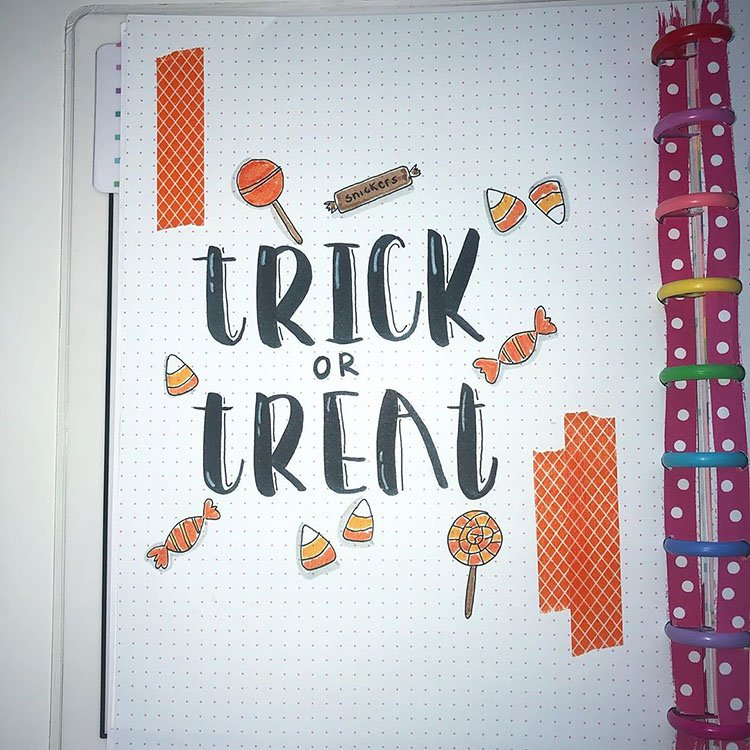 trick or treat bullet journal page