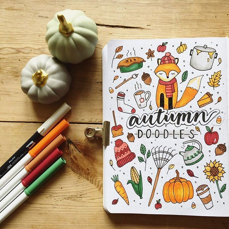 autumn doodles for bullet journal pumpkins, pie and sweaters