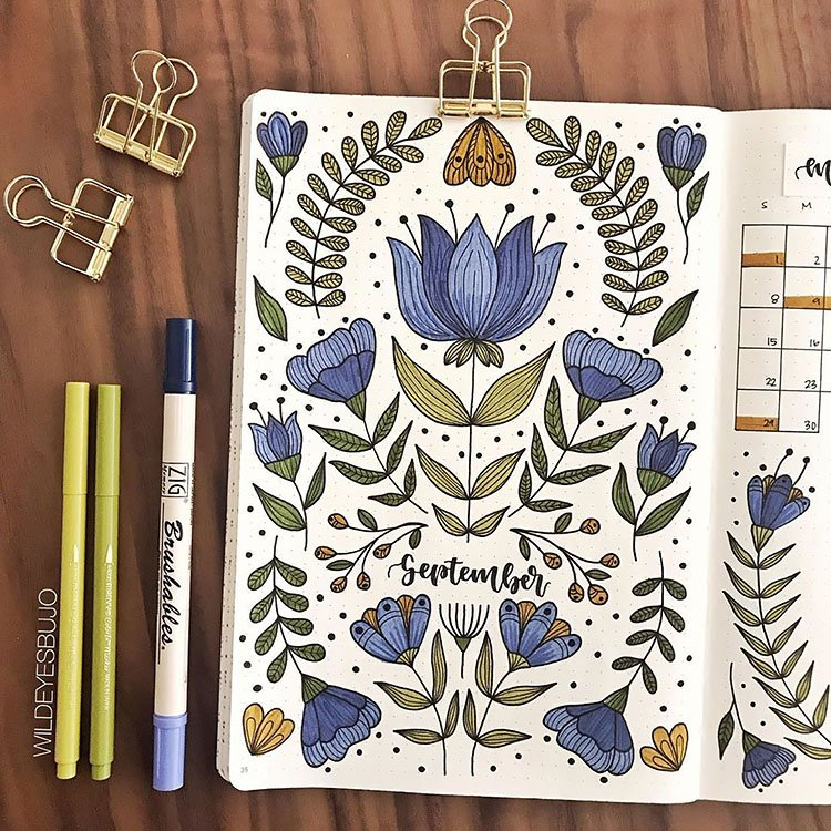 BLUE FLOWERS SEPTEMBER COVER PAGE DESIGN