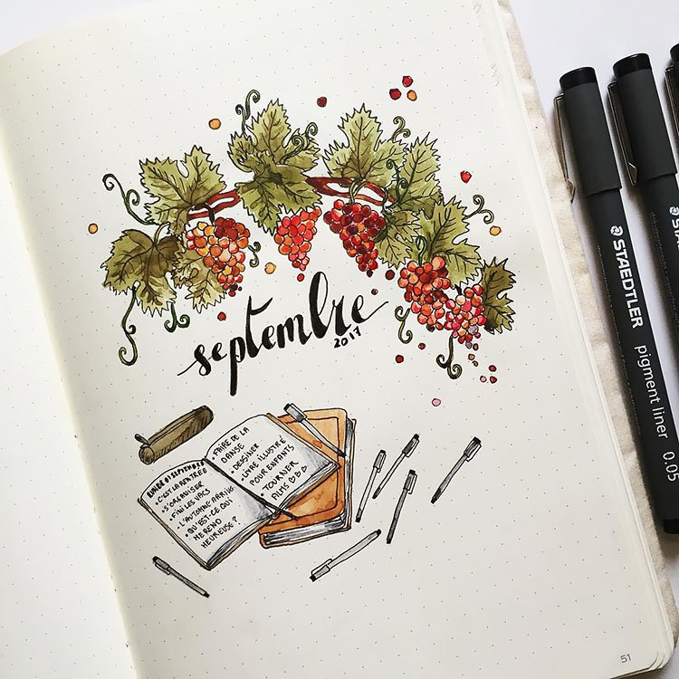 GRAPEVINE AND NOTEBOOKS SEPTEMBRE COVER PAGE