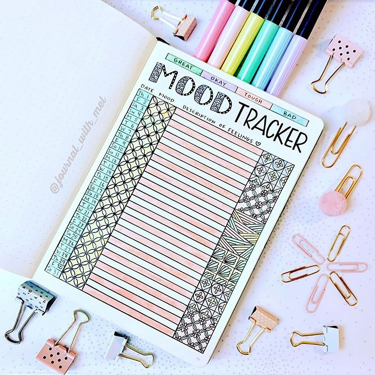 PASTEL MOOD TRACKER WITH PATTERNS