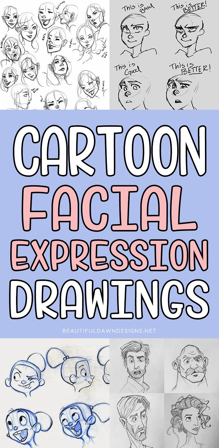 CARTOON FACIAL EXPRESSION DRAWINGS