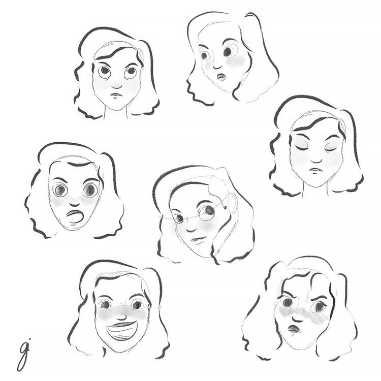 SIMPLE FACE EXPRESSIONS GIRL FACE