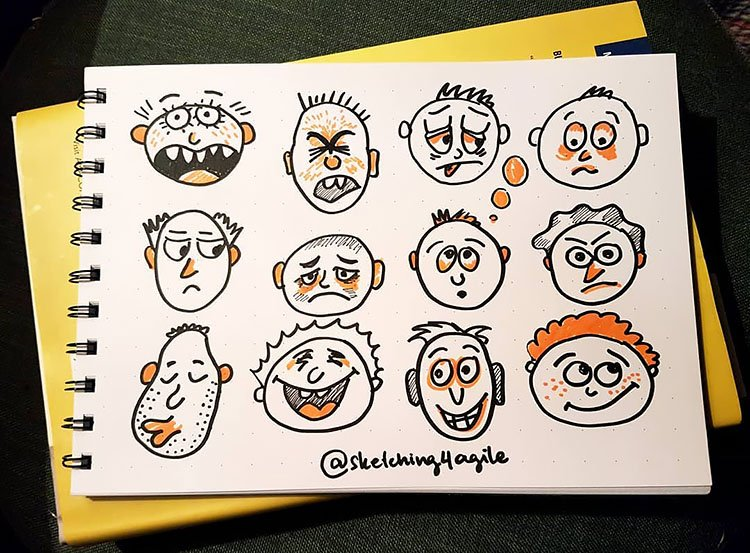 FACE DRAWINGS WITH ORANGE HAIR