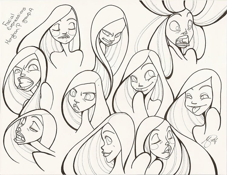 GIRL MAKING MULTIPLE EXPRESSIONS