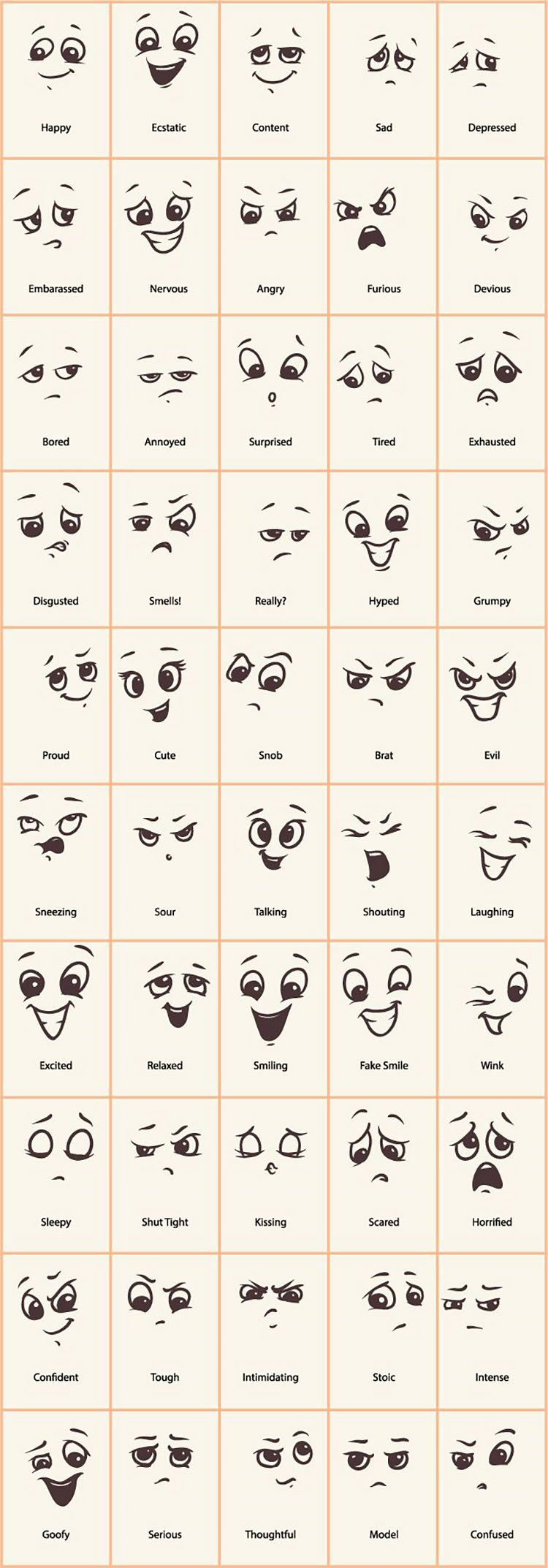 SIMPLE EYE AND MOUTH EXPRESSIONS