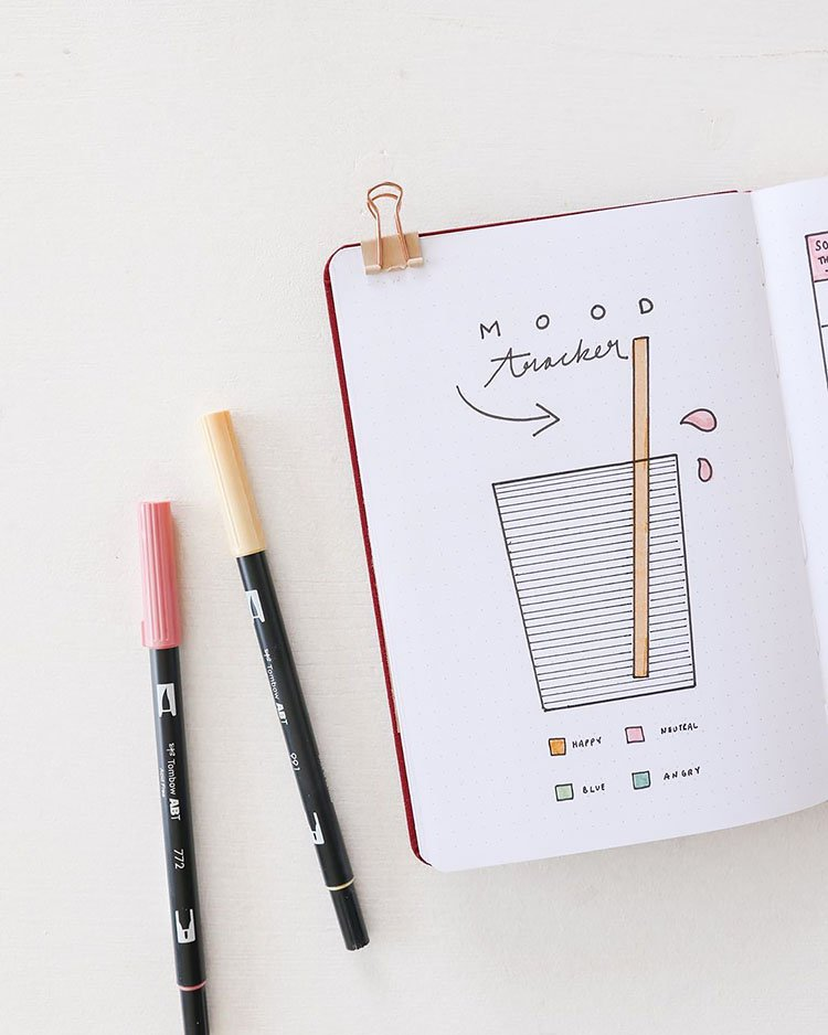 GLASS WITH STRAW BULLET JOURNAL