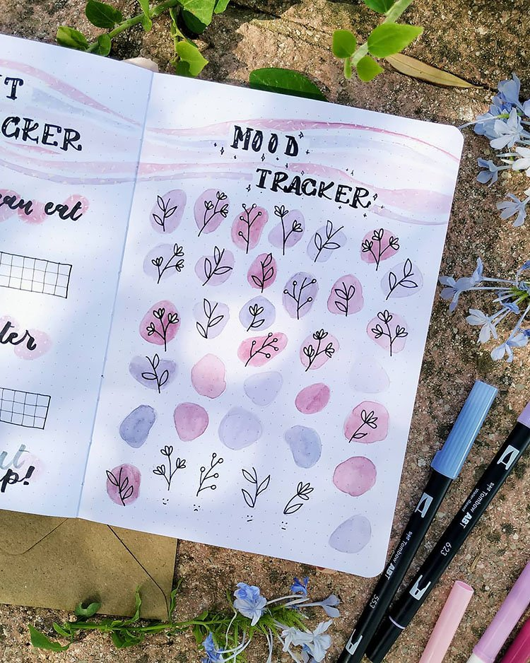 PURPLE AND PINK FLOWERS BULLET JOURNAL