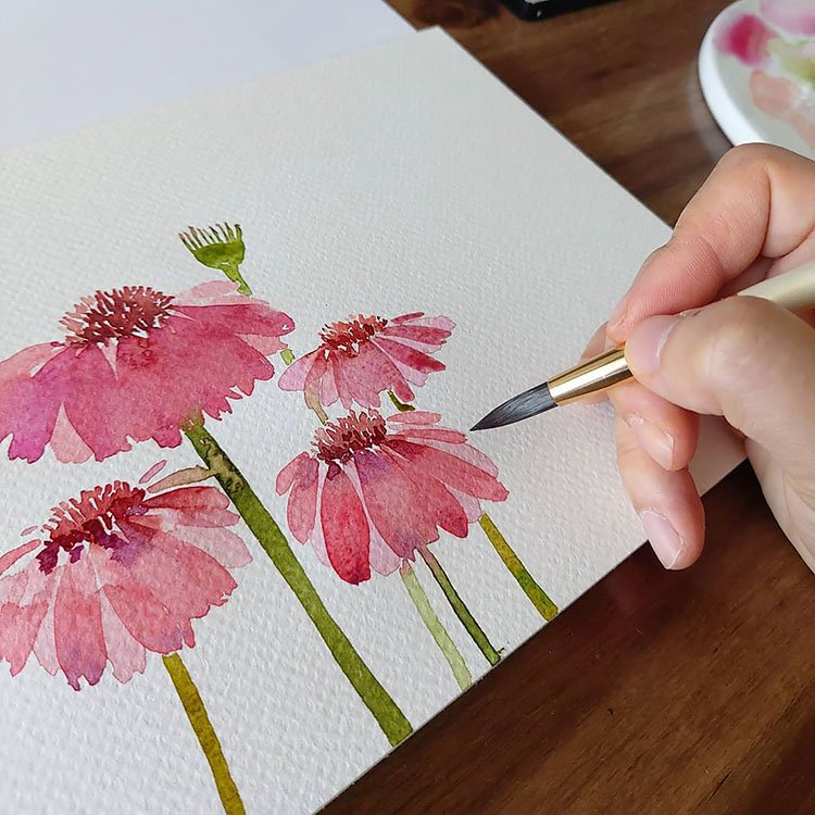 PINK AND RED WATERCOLOR FLOWERS