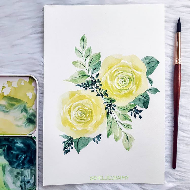 ORANGE AND GREEN WATERCOLOR FLOWERS