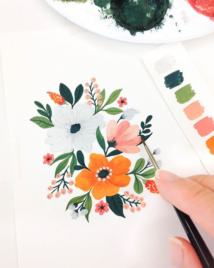 ORANGE GREEN AND PINK WATERCOLOR FLOWERS