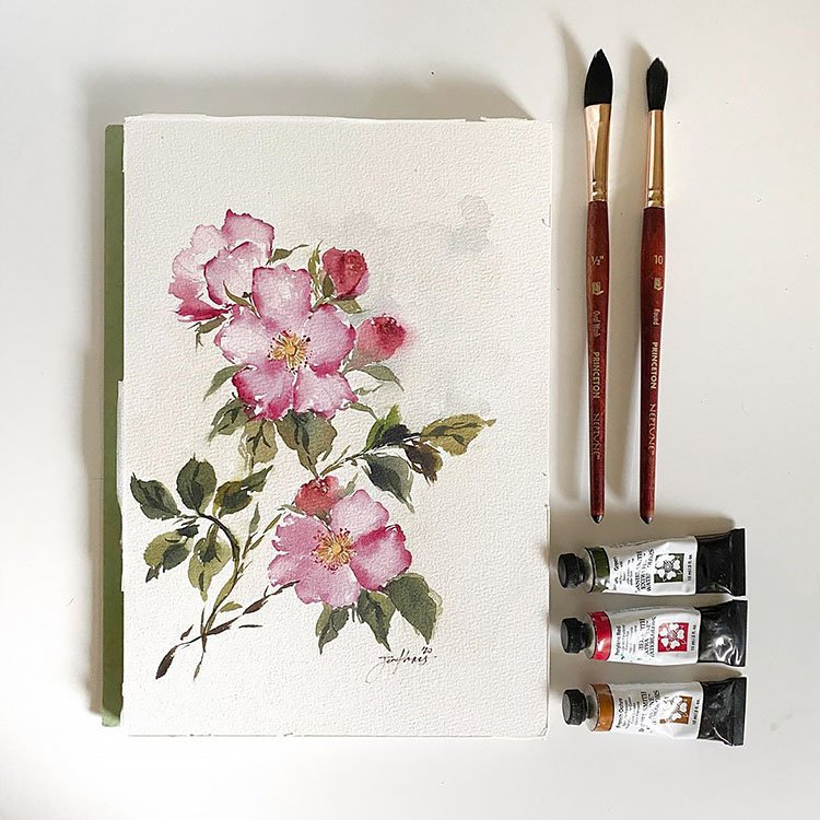 WATERCOLOR CANVAS PAINTING WITH FLOWERS