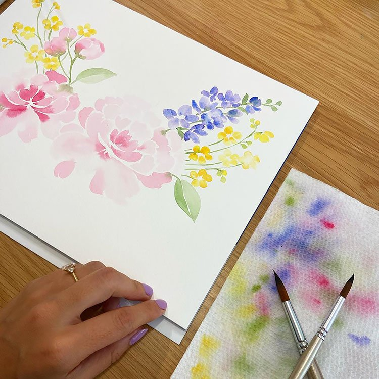 PINK PURPLE AND YELLOW WATERCOLOR FLOWERS