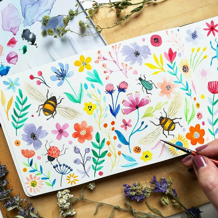 COLORFUL WATERCOLOR FLOWERS WITH BEES AND LADY BUGS