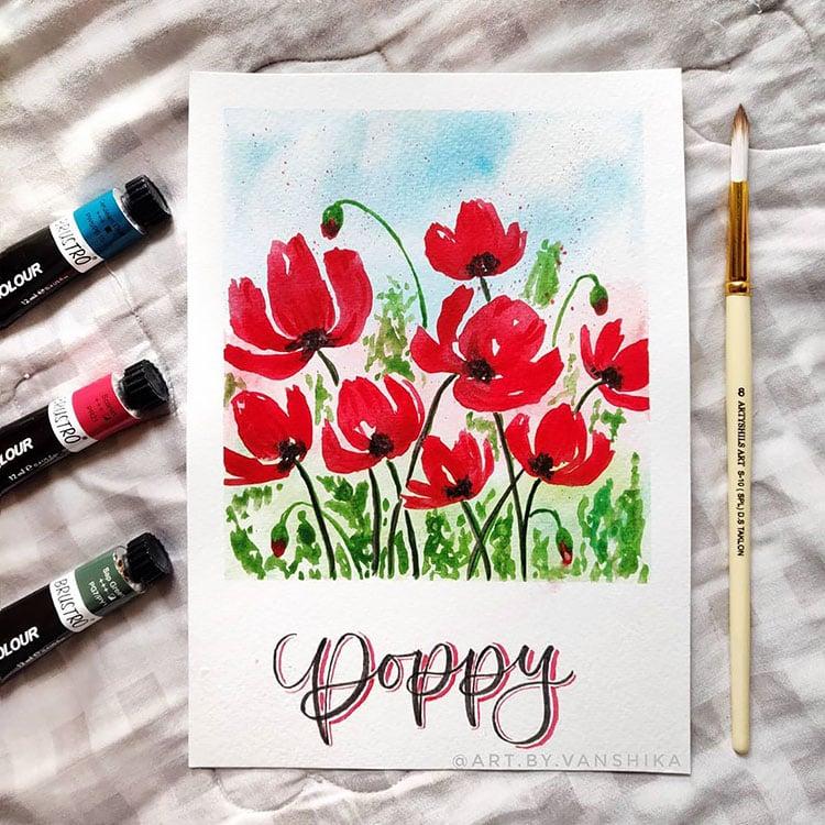 POPPY FLOWER FIELD USING WATERCOLOR PAINT