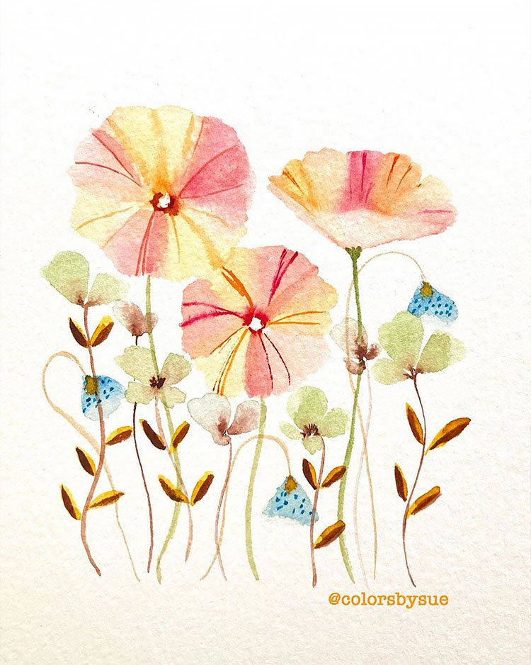 WATERCOLOR BLUE AND PINK FLOWERS