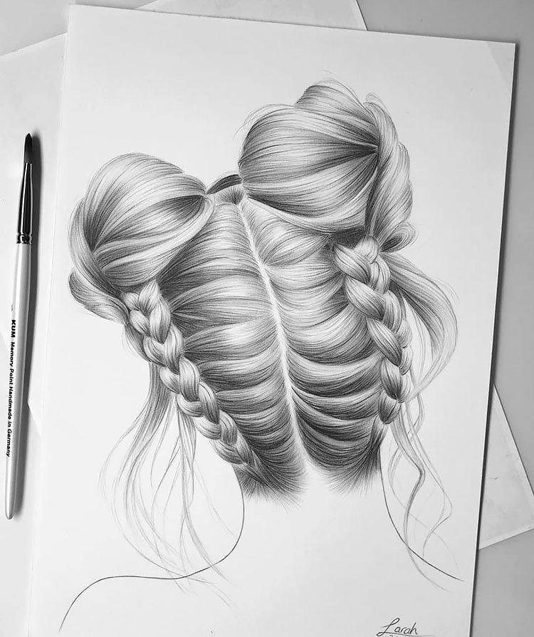 TWO BRAIDED BUNS