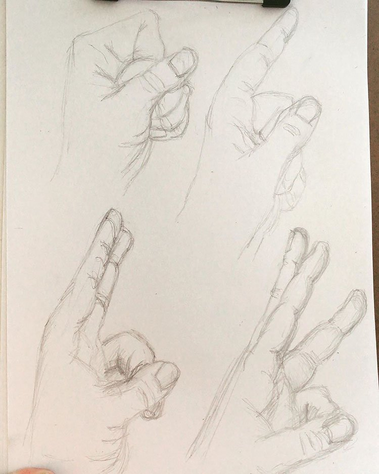 HAND HOLDING NUMBER SIGNS DRAWING