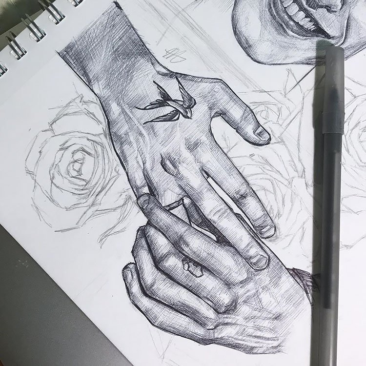 HAND TOUCHING RING DRAWING