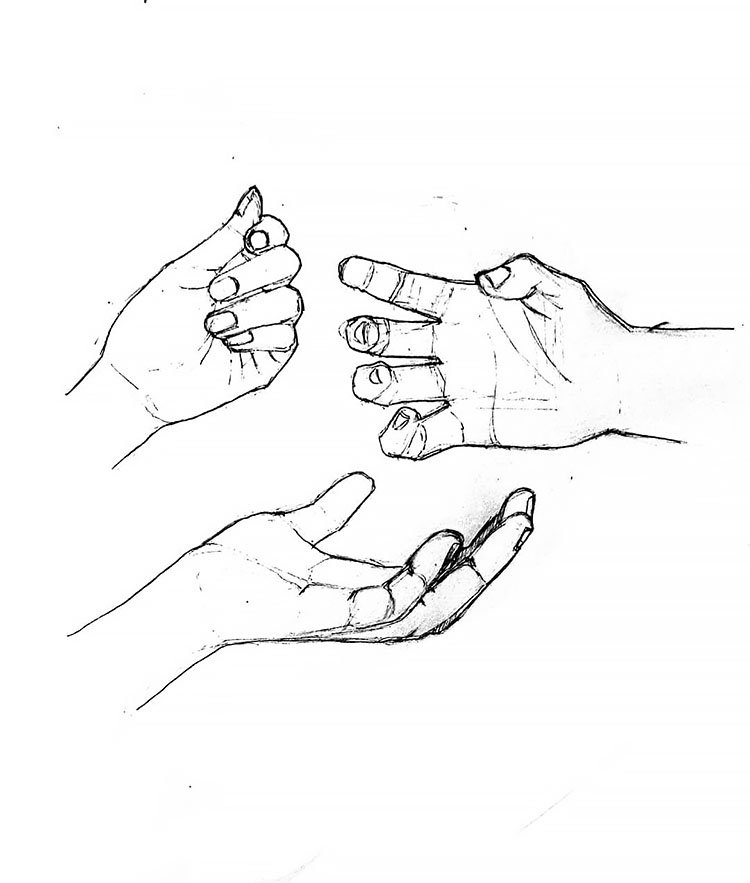 HAND IN DIFFERENT POSITIONS DRAWING
