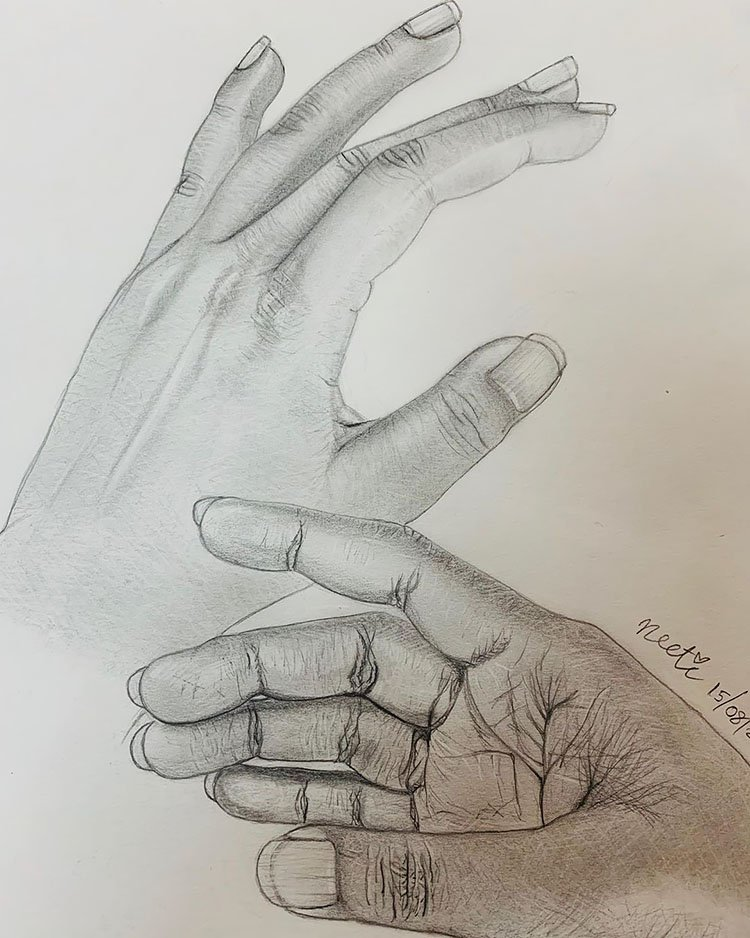 FRONT AND BACK HAND DRAWING