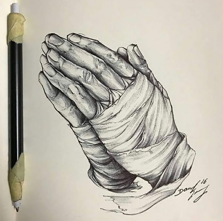 PRAYER HAND WITH BANDAGE DRAWING