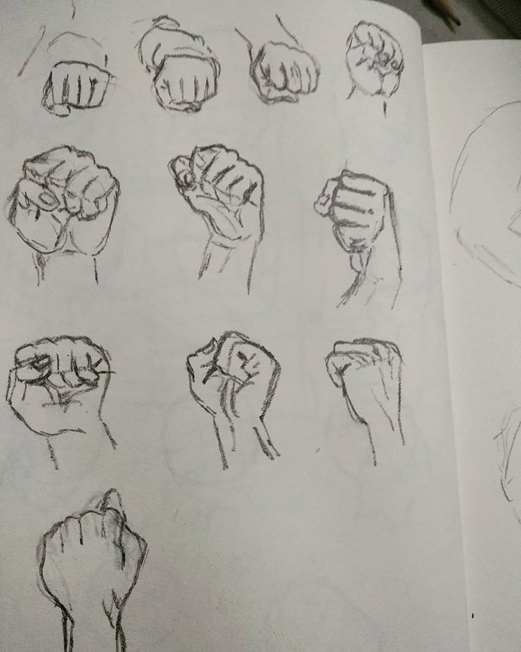 HAND MAKING FISTS SKETCHES