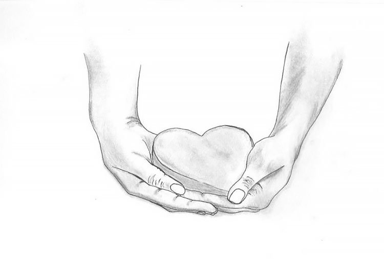 HAND HOLDING HEART SKETCH